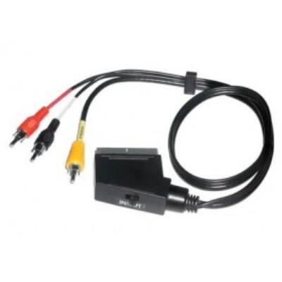 Scart - RCA átalakító kábel (irányváltós, 2m)