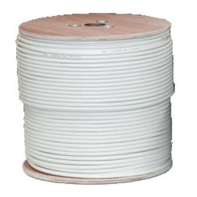 Koax kábel RG6 acél Trishield 305m-es dob, fehér